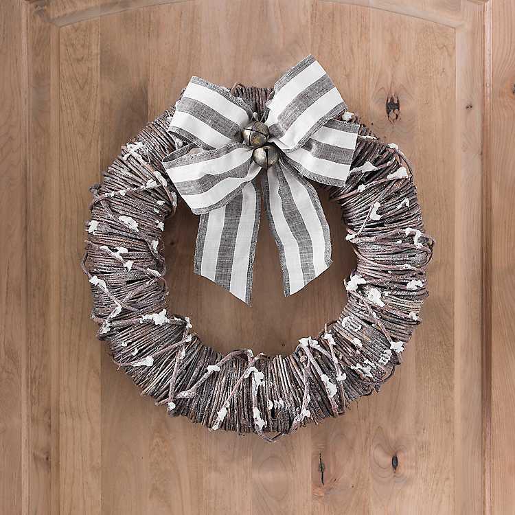 Snowy Bell Rattan Christmas Wreath   Kirklands