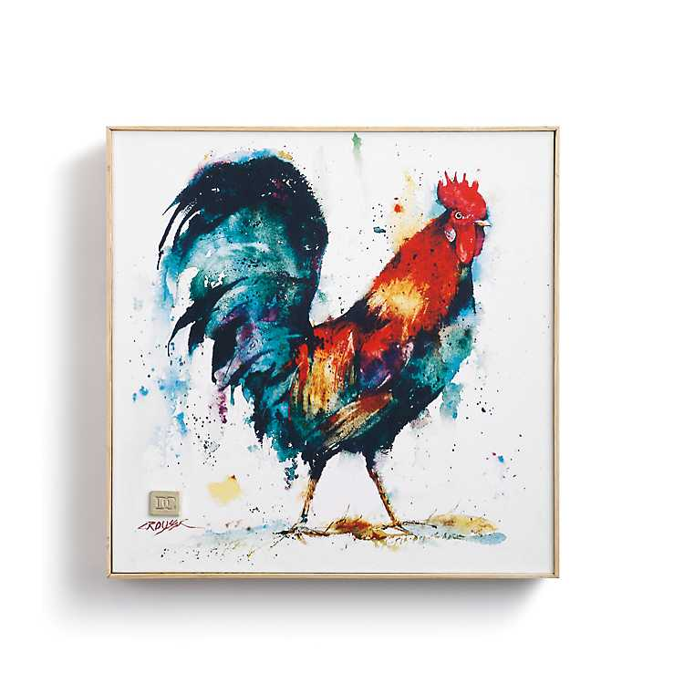 Rooster Wood Framed Canvas Art Print | Kirklands