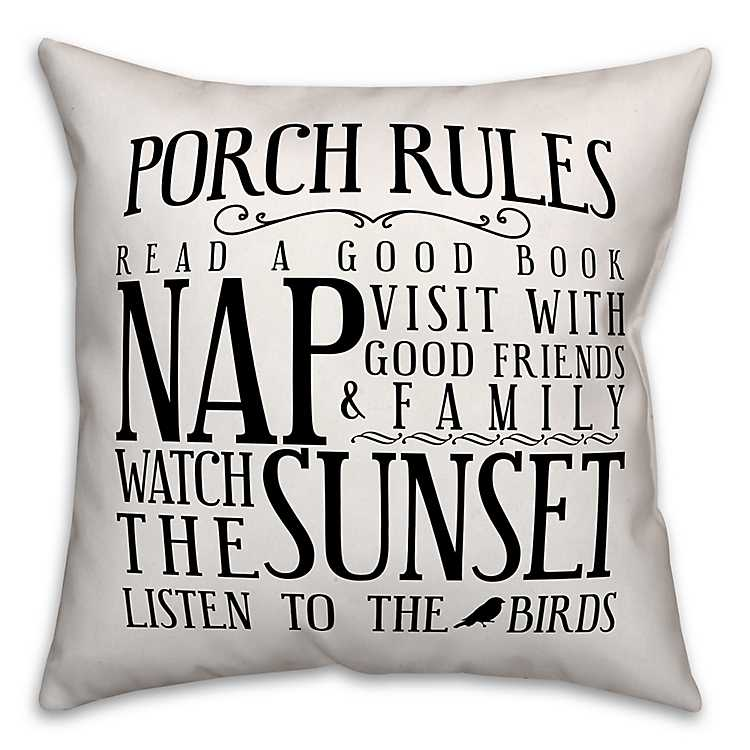 Black Porch Rules Outdoor Pillow