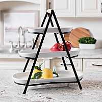 Black and White 3-Tier Serving Tray Stand
