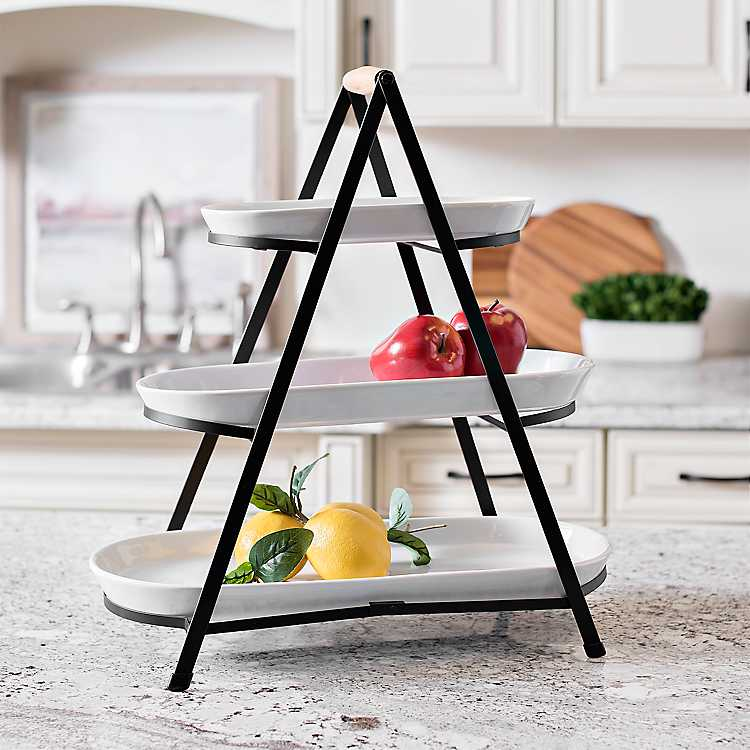 White 3 Tier Serving Tray Stand