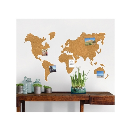 Cork world map wall decal set with pins kirklands gumiabroncs Image collections