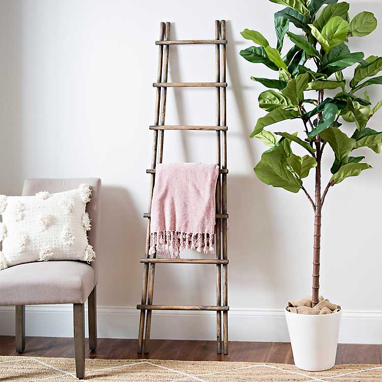 Layered Wood Leaning Ladder