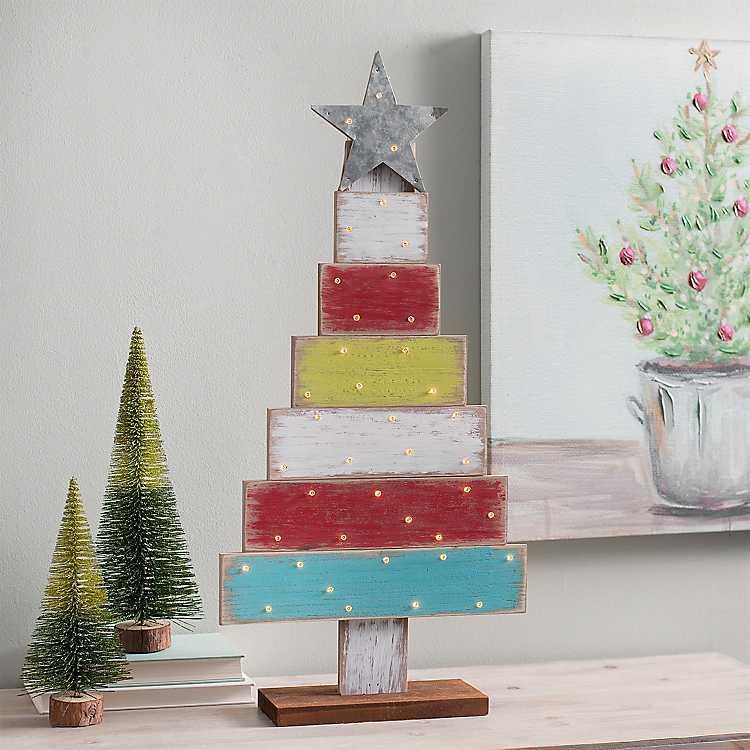 Multicolor Blocks LED Christmas Tree Statue | Kirklands