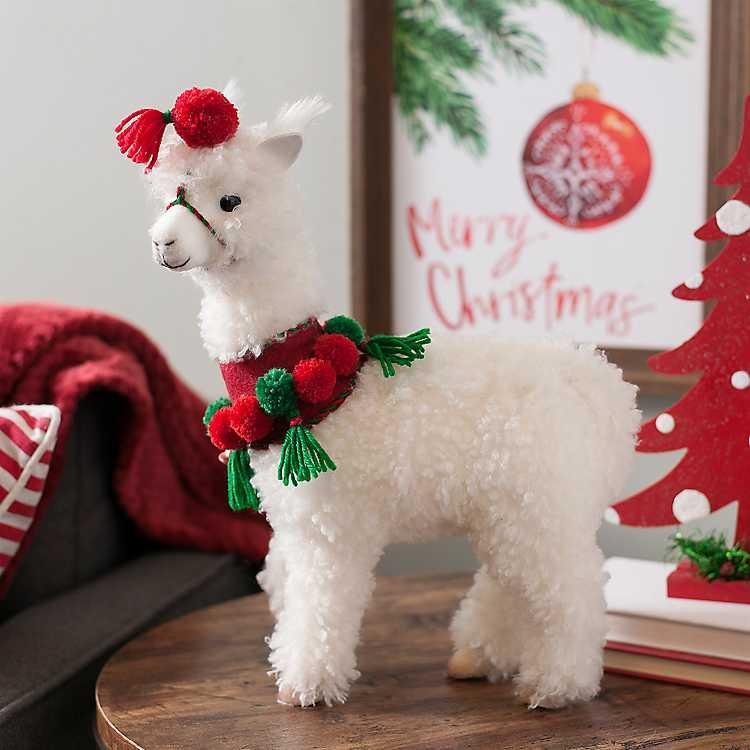 Christmas Llama.Fuzzy Christmas Llama Statue