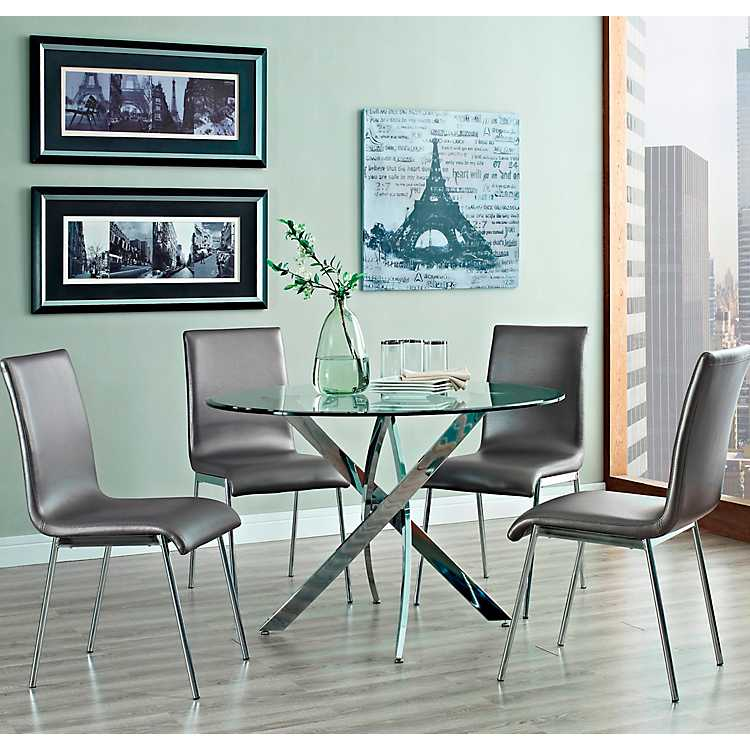 Round Glass Top Chrome Base Table 5 Pc. Dining Set ...
