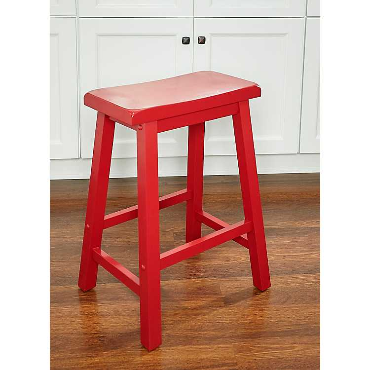 Crimson Red Saddle Seat Counter Stool