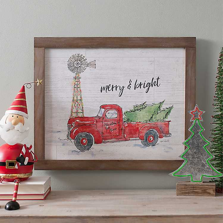 merry and bright christmas truck framed art print - Merry And Bright Christmas Decorations