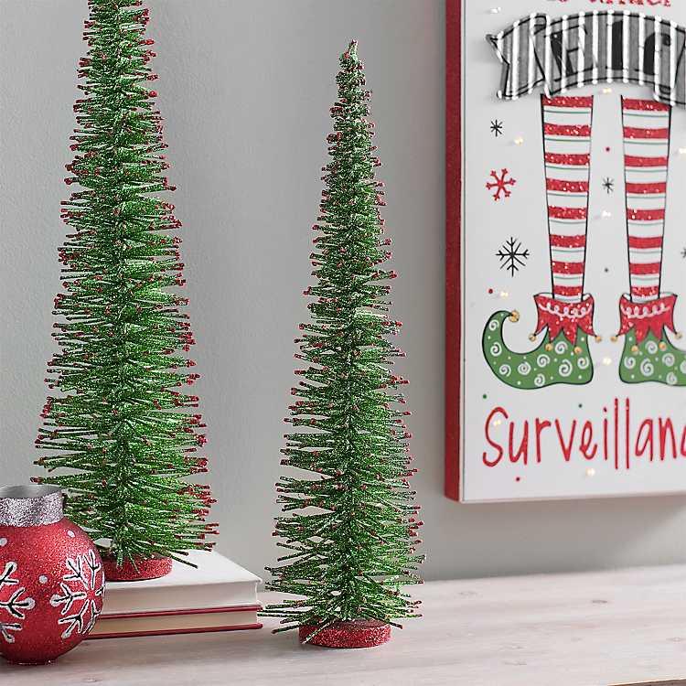 green bottlebrush red tips christmas tree 20 in