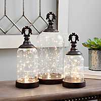 Set of 3 Pre-Lit Glass Finial Cloches