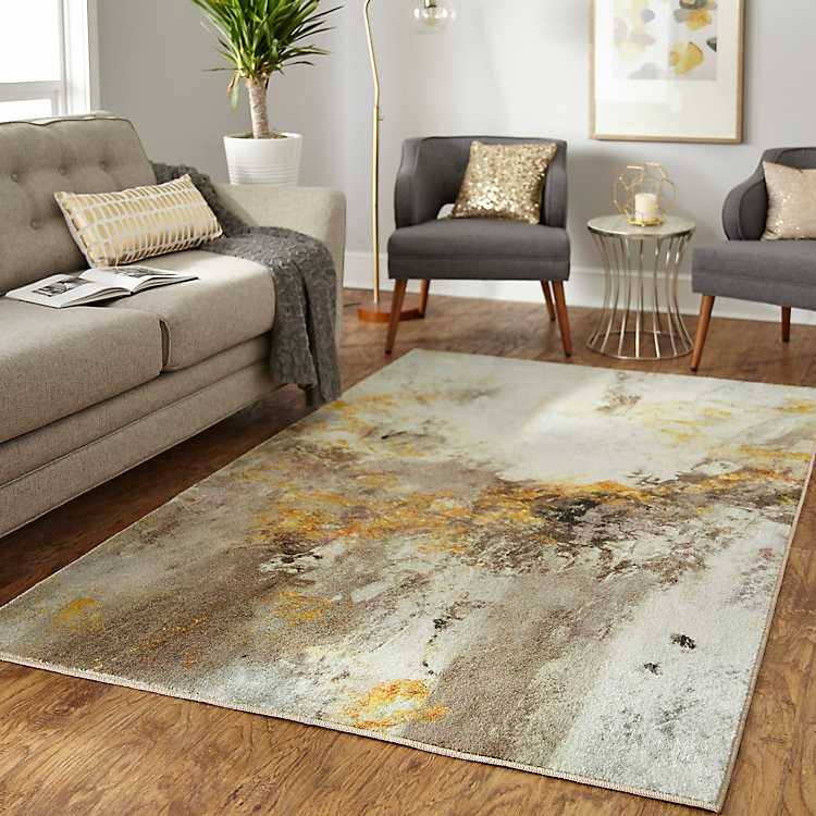 Gold And Gray Vein Area Rug 8x10