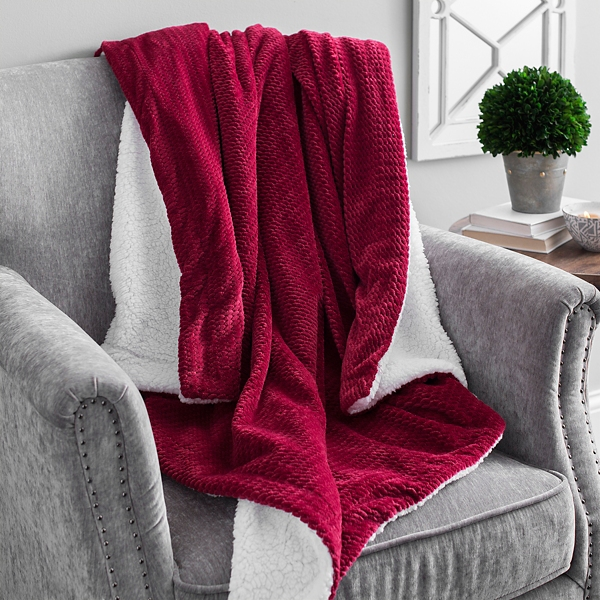 Solid Red Jacquard Sherpa Throw