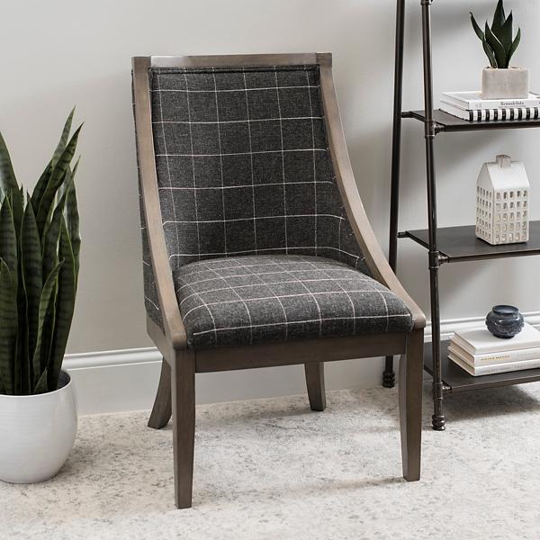 Black Check Andrea Accent Chair
