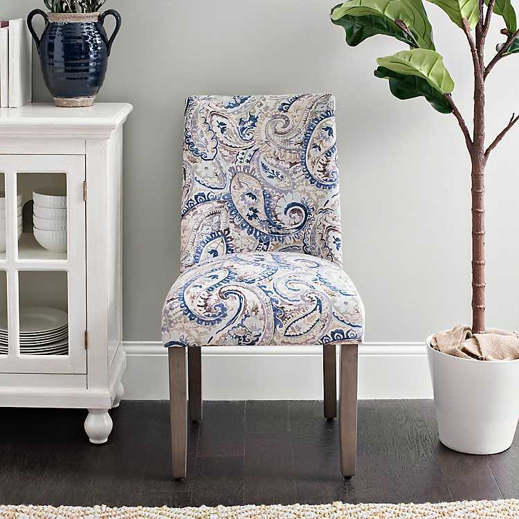 Blue Paisley Wingback Dining Chair ...