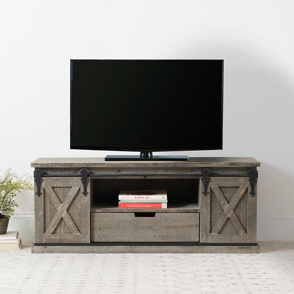 Barn Door Sliding TV Entertainment Bench
