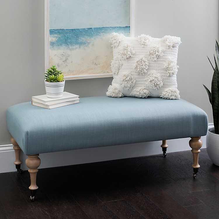 Pleasing Light Blue Linen Rolling Bench Andrewgaddart Wooden Chair Designs For Living Room Andrewgaddartcom
