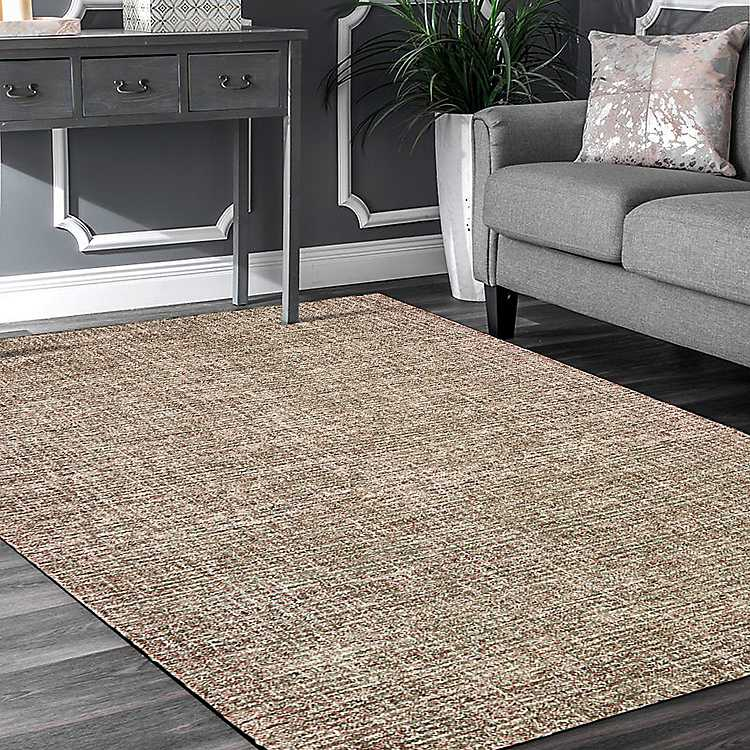 Brown And Red Geometric Area Rug