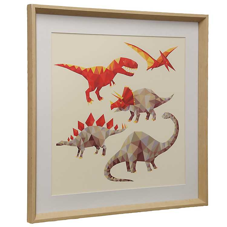 Red Geometric Dinosaurs Framed Art Print | Kirklands