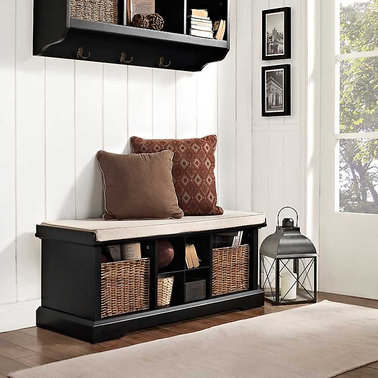 Stupendous Wicker Baskets Black Storage Bench With Cushion Caraccident5 Cool Chair Designs And Ideas Caraccident5Info