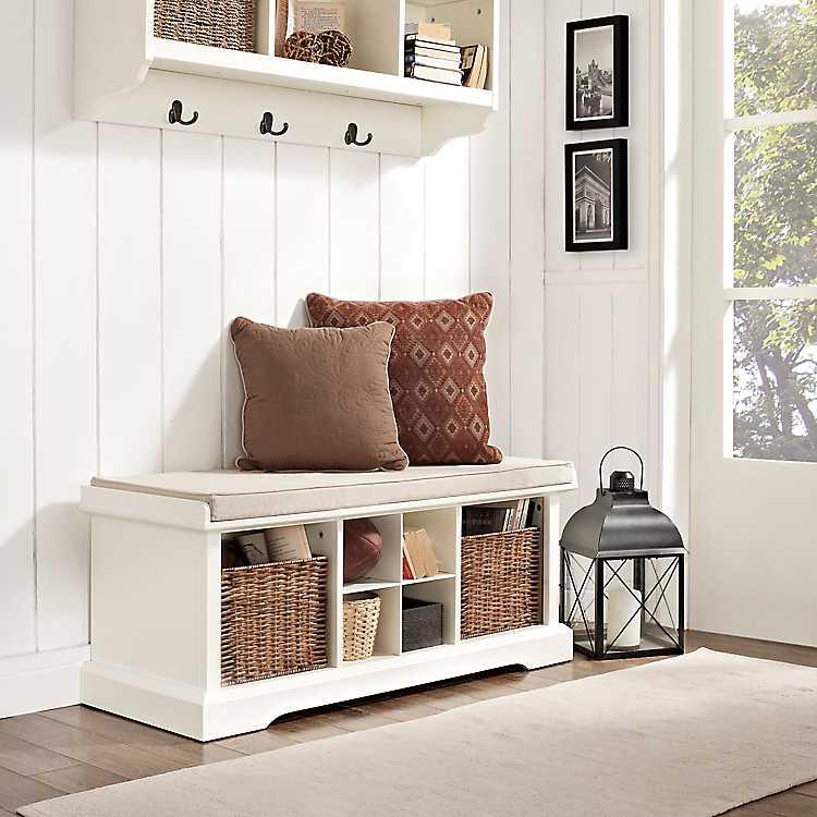 Wicker Baskets White Storage Bench With Cushion ...