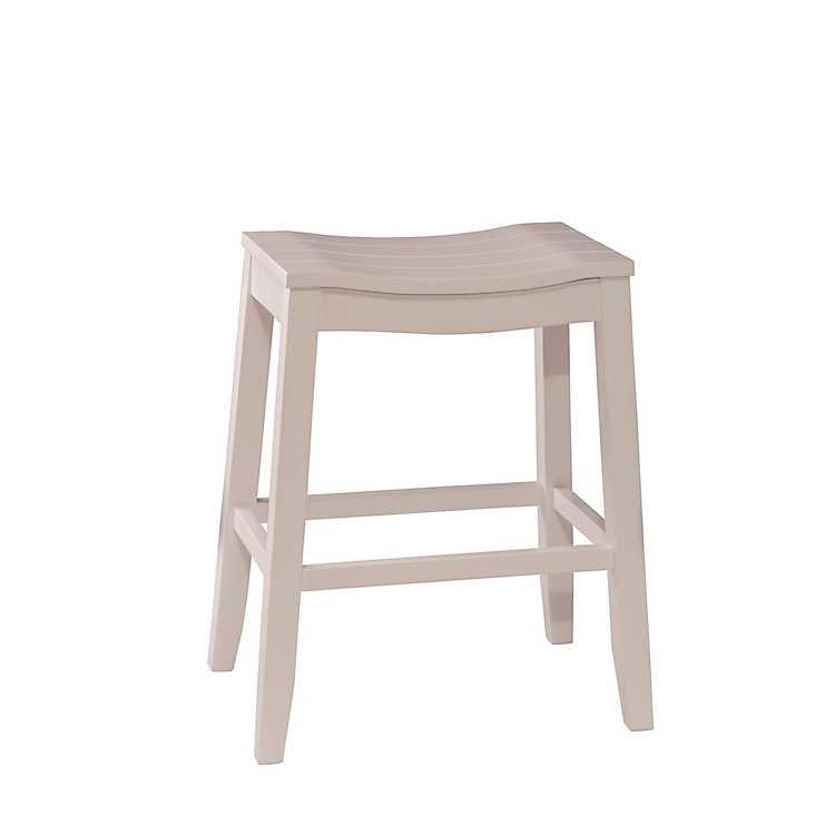 Finley Saddle Seat White Counter Stool