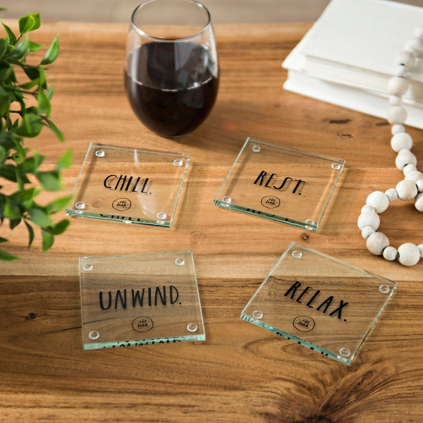 Rae Dunn 4-piece Glass Coaster Set in Wood Holder