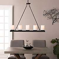 Linear 5-Light Matte Black Pendant Light