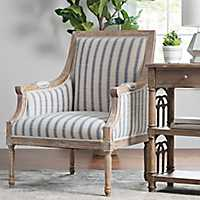 McKenna Blue Striped Accent Chair
