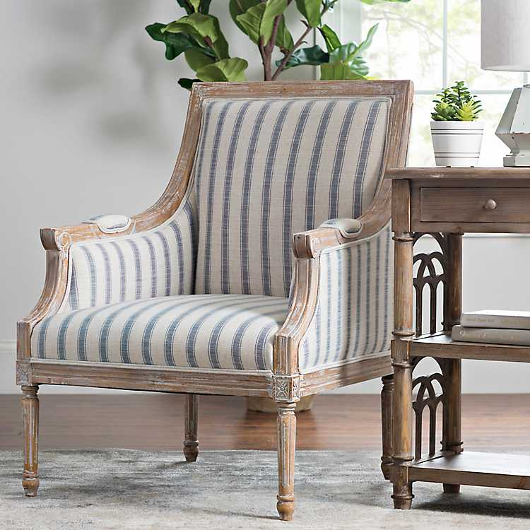 Accent Chairs.Product Details Mckenna Blue Striped Accent Chair