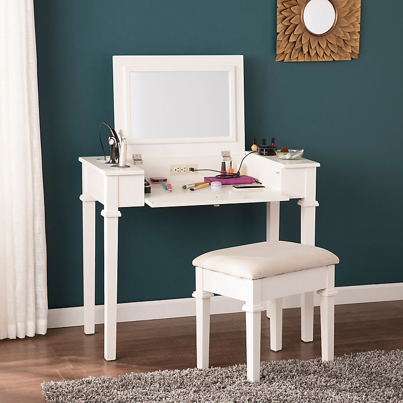 White Vanity Desk with Stool and Power Outlet