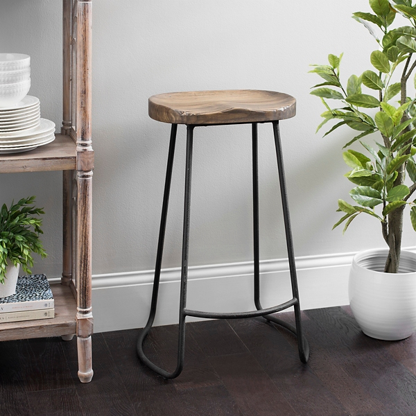 Backless Molded Wood Seat Bar Stool