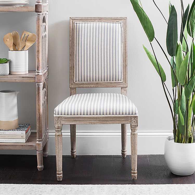 Gray Stripe Rectangular Louis Dining Chair