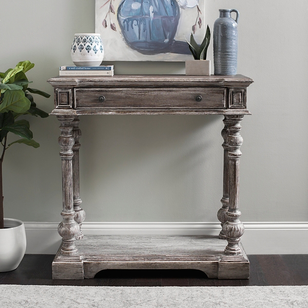 Milton Vintage Gray Elm Wood Console Table