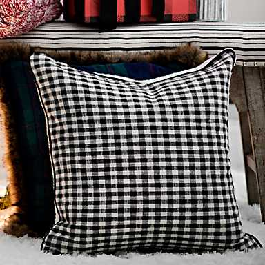 Black and White Sherpa Back Gingham Pillow
