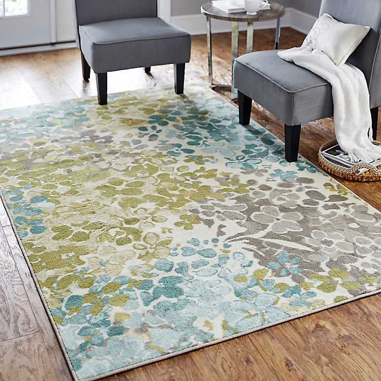 Aqua and Green Radiance Square Area Rug