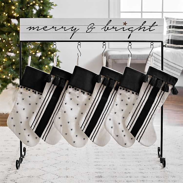 white merry and bright christmas stocking holder - Merry And Bright Christmas Decorations