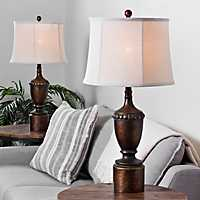 Set of 2 New Tort Painted Bronze Table Lamps