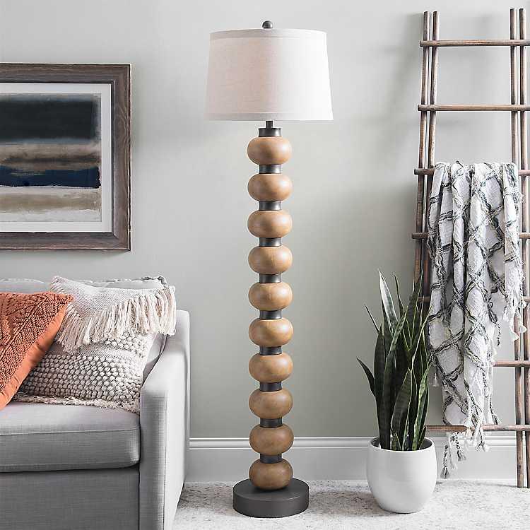 Natural Wood Orb Floor Lamp