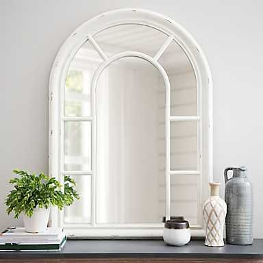 Jordana Distressed White Arch Mirror