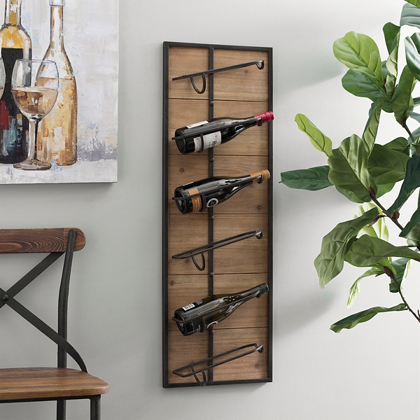 Wood and Metal 6-Bottle Wine Rack