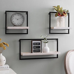Metal And Wood Floating Wall Shelves Set Of 3