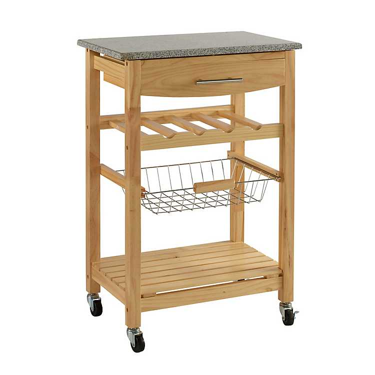 Griffin Natural With Granite Top Kitchen Cart ...