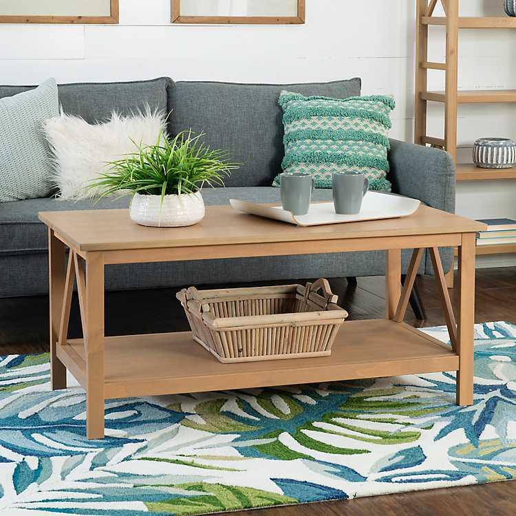 Charleston Rustic Gray Coffee Table With Shelf ...
