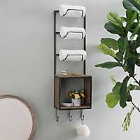 Towel/Wine Rack with Hooks and Crate