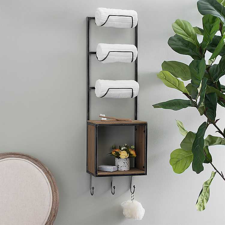 Towel Wine Rack With Hooks And Crate