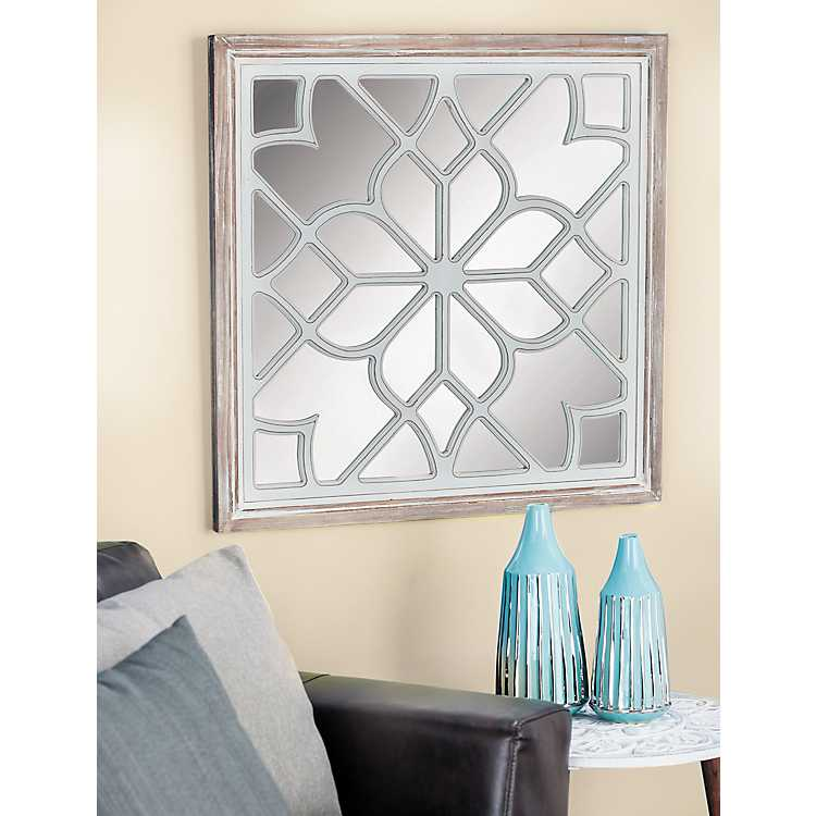 White Wood Lattice Overlay Mirror 30x30 In