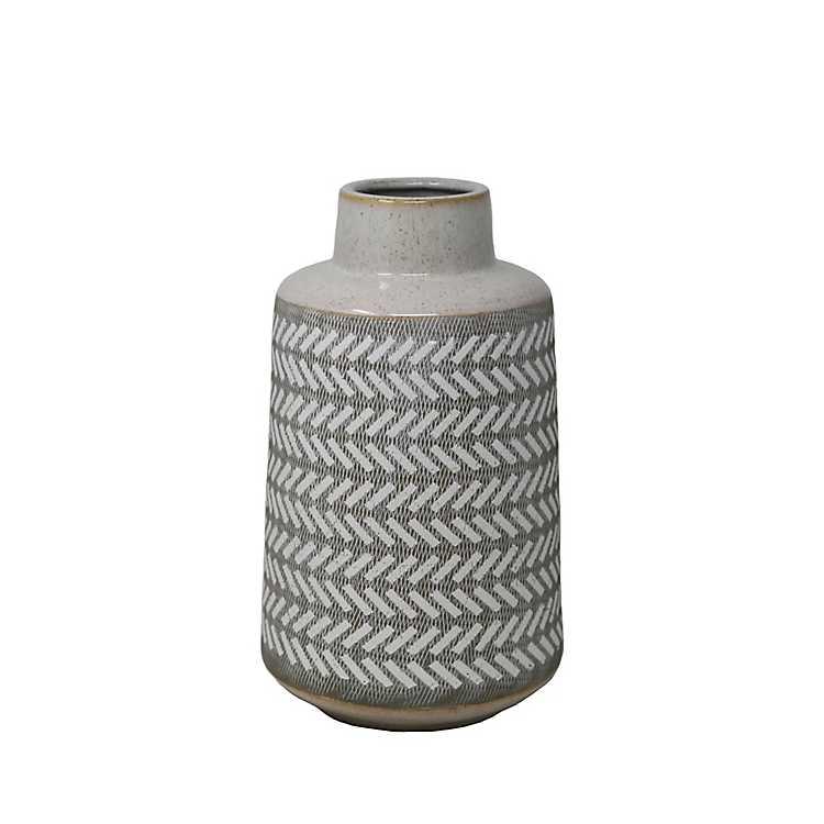 Medium White Etched Vase 1175 In Kirklands