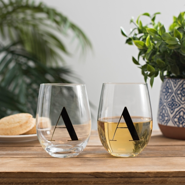 Set of 2 Black and Gold Monogram A Wine Glasses