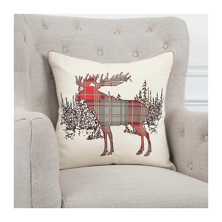Plaid Christmas Pillows.Plaid Reindeer Christmas Pillow