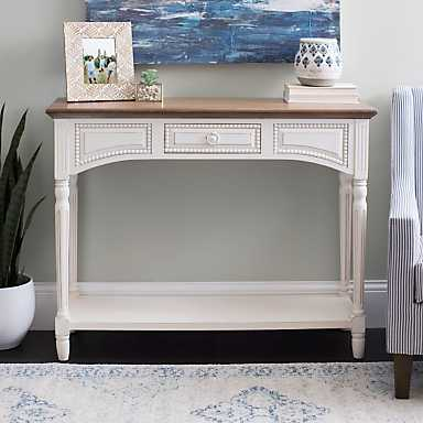 White Wood Beaded Family Console Table